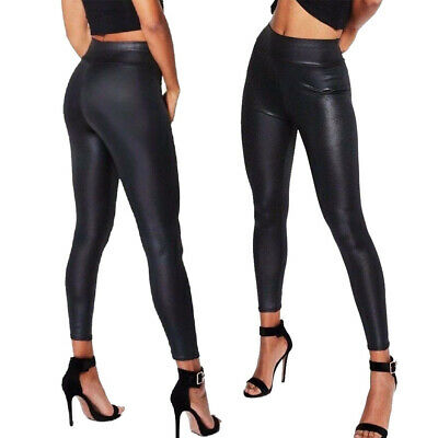 Sexy Womens Black PU Leather High Waist Leggings Ladies Stretch Pant Trousers A4
