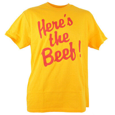 Heres the Beef Spencer Shirt Tee Funny Novelty Yellow Mens Adult Tshirt
