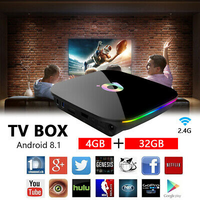 Q-Box Plus Quad Core 4G+32G Android 8.1 TV 4K HD Smart Media Player WI-FI HDMI