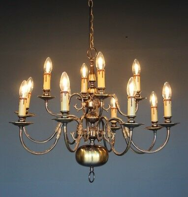 Impressive 12 arm chandelier polished brass Dutch baroque long French provincial