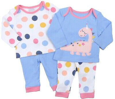 Baby Girls Two Pack Pyjamas PJs Pajamas Dinosaur Spotty Soft Cotton