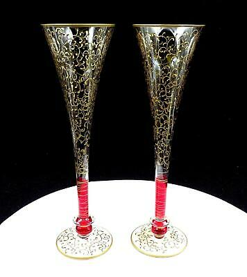 """Pier 1 Imports #p1C8 Rioja 2 Pc Ruby Red & Gold Scroll 10 3/4"""" Champagne Flutes"""