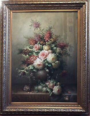 Huge Classical Still Life Oil Painting - Classical Floral Display In Stone Urn