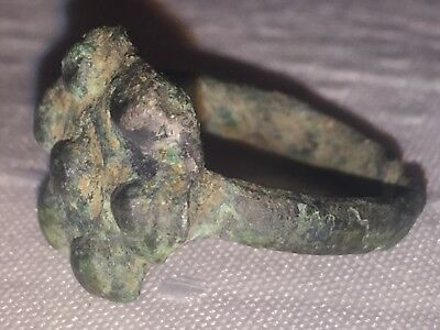 Ancient antique Bronze Ring found on Bactrian Middle Asia 300 Before Christmas