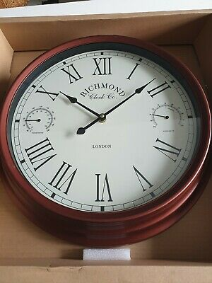 Dark Brown Copper Round Wall Clock With Thermometer & Humidity Gauge Large 38cm