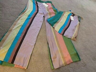 09067a59 ZARA LILAC STRIPE PINK wide Leg Flowing TROUSERS PALAZZO Size L & Matching  top