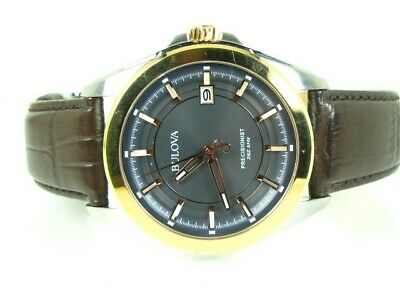 Bulova Mens 98B267 Stainless Steel Dress Watch Brown Leather Band