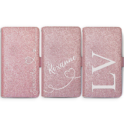 Personalised Initial Pink Glitter Phone Case Leather Cover For Samsung S9 J4...