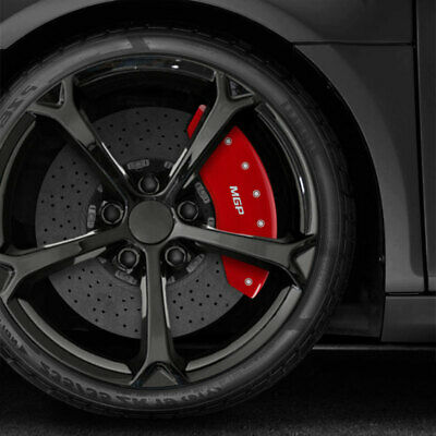 Set of 4 MGP Caliper Covers 22221SMGPRD MGP Engraved Caliper Cover with Red Powder Coat Finish and Silver Characters,