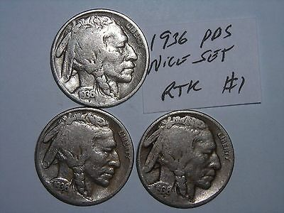 BUFFALO NICKEL 1936,1936D,1936s SET INDIAN HEAD 5 CENT 1936-P,1936-D,1936-S lot