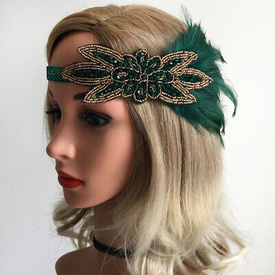 1920's Flapper Feather Fascinator Headband Deluxe  Beaded Headpieces