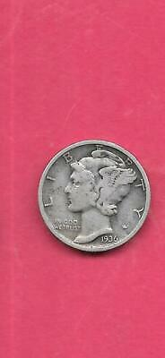 Us Mercury Silver Dime 1936-D Fine-Nice Old Vintage Wwii Era 10 Cents Coin