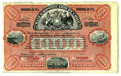 Chile. Banco Hipotecario de Chile 1900-20 Specimen 1000 Pesos Bond VF ABN Red
