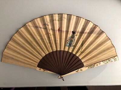 Antique chinese cantonese wooden  painting fan 19th éventail chine ancien peint
