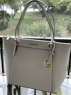 e7c8b5e653dc Nwt Michael Kors Ciara Large East West Top Zip Saffiano Leather Tote Optic  White