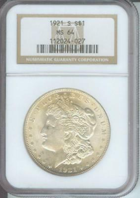 1921-S MORGAN SILVER DOLLAR S$1 NGC MS64 San Francisco MINT Older Holder !