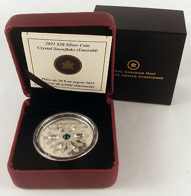 2011 Canada $20 Hyacinth Small Crystal Snowflake Fine Silver Coin