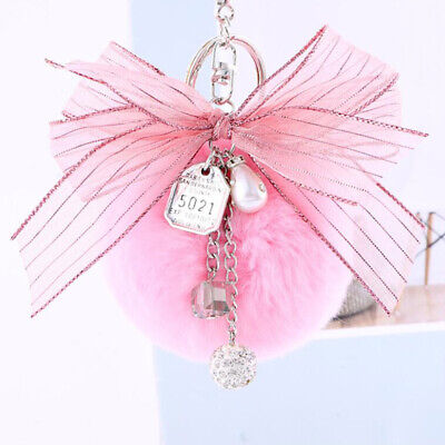 Rabbit Fur Ball Key Chain Dangle Pompon Pendant Keyring Bowknot Decor S