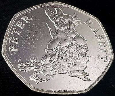 2018 Peter Rabbit Eating Carrot 50p Fifty Pence Uncirculated Coin