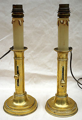 Antique French Brass Pair of Push Up Candlestick Empire Napoleonic Early 19th