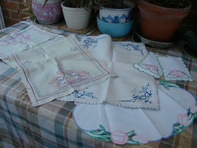 5 Asst Vintage Linen Table Mats,Centres,Runners~Lovely Hand Embroidery