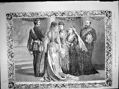 Original Old Antique Print Queen Princess Wales Congratulating Bridal Pair 1889