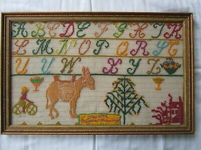 Antique Sampler 1877 Framed Bicycle Donkey Framed
