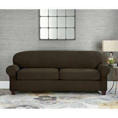 SURE FIT STRETCH Suede chocolate brown 3 cushion sofa slip ...
