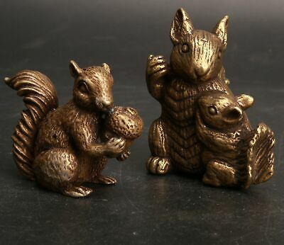 2 Chinese Bronze Hand Carved Squirrel Statue Gift Collection Decoration