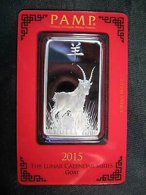 """2015 ~ """"Goat"""" PAMP SWISS .999 SILVER BAR 1 OZ. SEALED ~ Pamp Suisse"""