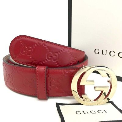 5a05b7b100a New GUCCI Signature G Buckle 370543 Hibiscus Red Leather 80 32 Woman Belt   3484