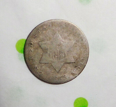 1853 Early Date 3c Silver Three Cent Piece USA Coin GD Good Pre Civil War Era
