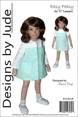 "Easy Peasy Doll Clothes Sewing Pattern 11"" Leeann Dolls"