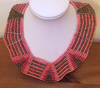 Beautiful Egyptian Revival Cleopatra Coral Glass Bead Multi Strand Bib Necklace
