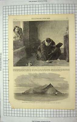Original Old Antique Print 1867 Pitcairn Island Pacific Ocean Ship Bounty Monk