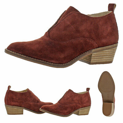 bccc8c1ccf9e1 Lucky Brand Fimberly Women s Suede Slip On Almond Toe Ankle Bootie Boots