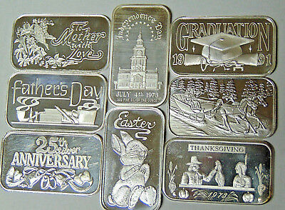 Lot of 8 Holiday .999 Fine Silver Bars Mothers Day Easter July 4th Fathers Day