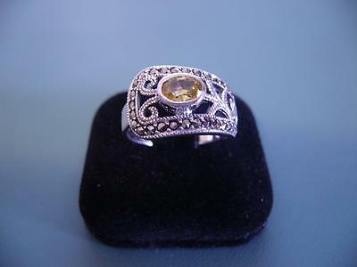 Created Citrine & Marcasite Gemstone Ring - Sterling Silver 925 - 9.5 / S.5 - 5g