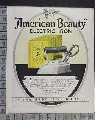 1924 American Beauty Electric Iron Home Appliance Decor Vintage Art Ad Dn90