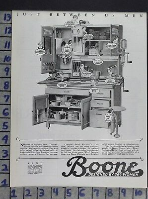1926 Home Decor Kitchen Boone Cabinet Tools Utensils Cooking Vintage Ad Dv87