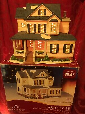 2005 FARMHOUSE Village COUNTRY CHARM COLLECTION Light Up HOLIDAY TIME
