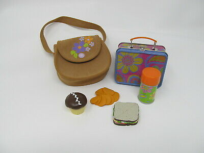 American Girl Doll Of Year Julie Lunchbox Sandwich Cupcake Thermos Chips & Purse