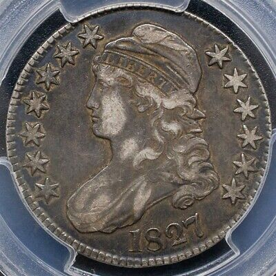 1827 Capped Bust Half Dollar Overton O-107 -PCGS VF35-Sq. Base 2-CAC Certified