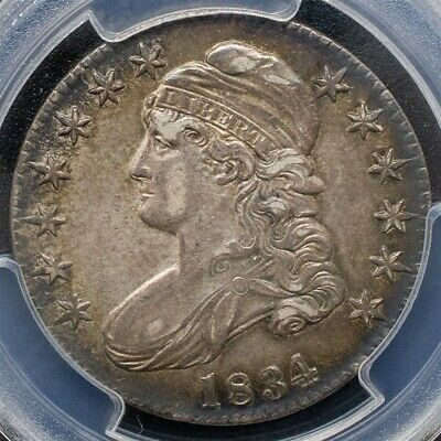 1834 Capped Bust Half Dollar Overton O-103 - PCGS AU55- Lg. Date - CAC Certified