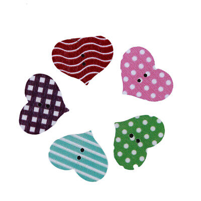 Wooden Mixed Plaid Stripe Love Heart Shaped Craft Sewing Buttons Scrapbooking