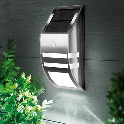 4 Pack Solar Powered LED Wall Light Motion Sensor Security Lamp Outside EX