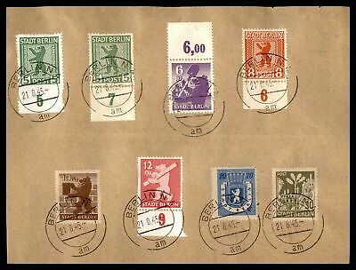 Germany Stadt Berlin Set Of 8 August 21 1945 Cancels On Card Fdc
