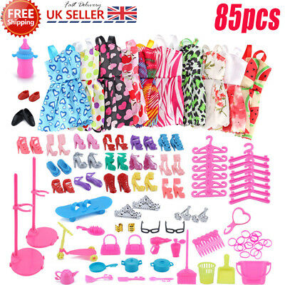 85 Items For Barbie Doll Dresses, Shoes,jewellery Clothes Set Accessories Uk NEW