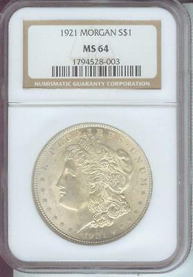 1921 ( 1921-P ) MORGAN SILVER DOLLAR S$1 NGC MS64 MS-64 Near GEM !!!!!