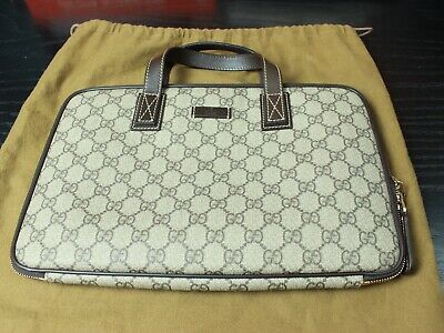 3f1abb3df12 GUCCI 100% AUTHENTIC Laptop Portfolio Upright Bag Briefcase Tote ...